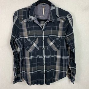 Free People Womens Plaid Button Down Shirt Small